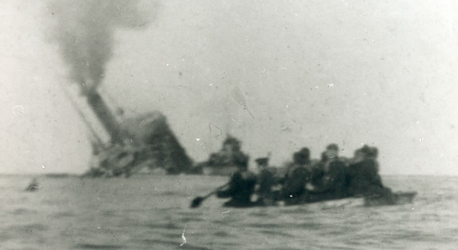 Aragon sinking. Reproduced with permission of the Imperial War Museum